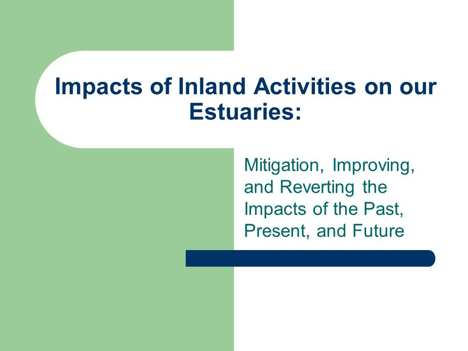 Impacts of Inland Activities on our Estuaries: Mitigation, Improving, and Reverting the Impacts of the Past, Present, and Future