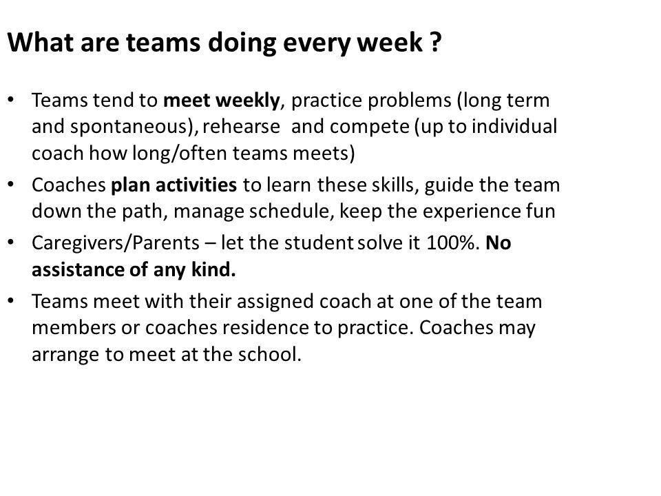 What are teams doing every week .
