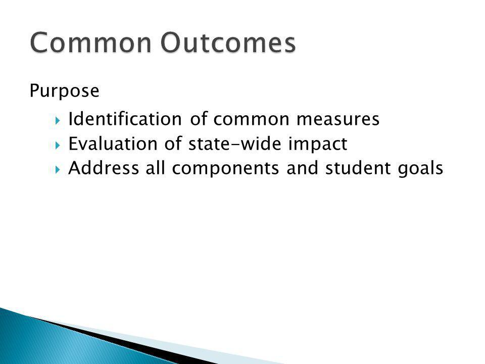 Purpose  Identification of common measures  Evaluation of state-wide impact  Address all components and student goals