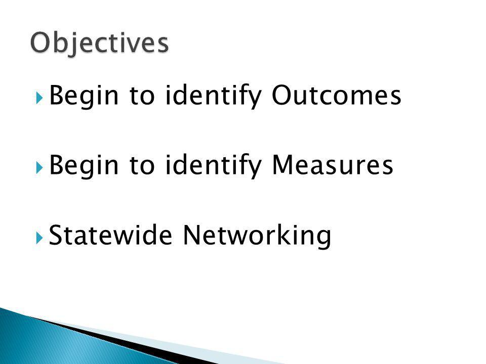  Begin to identify Outcomes  Begin to identify Measures  Statewide Networking
