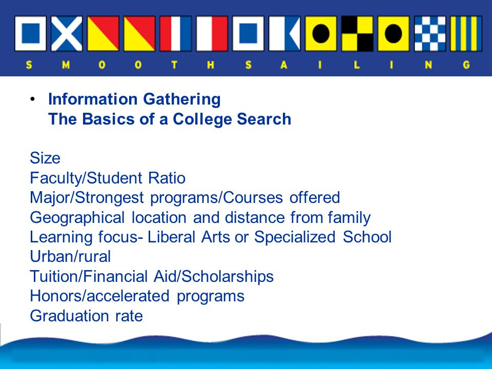 Information Gathering The Basics of a College Search Size Faculty/Student Ratio Major/Strongest programs/Courses offered Geographical location and distance from family Learning focus- Liberal Arts or Specialized School Urban/rural Tuition/Financial Aid/Scholarships Honors/accelerated programs Graduation rate