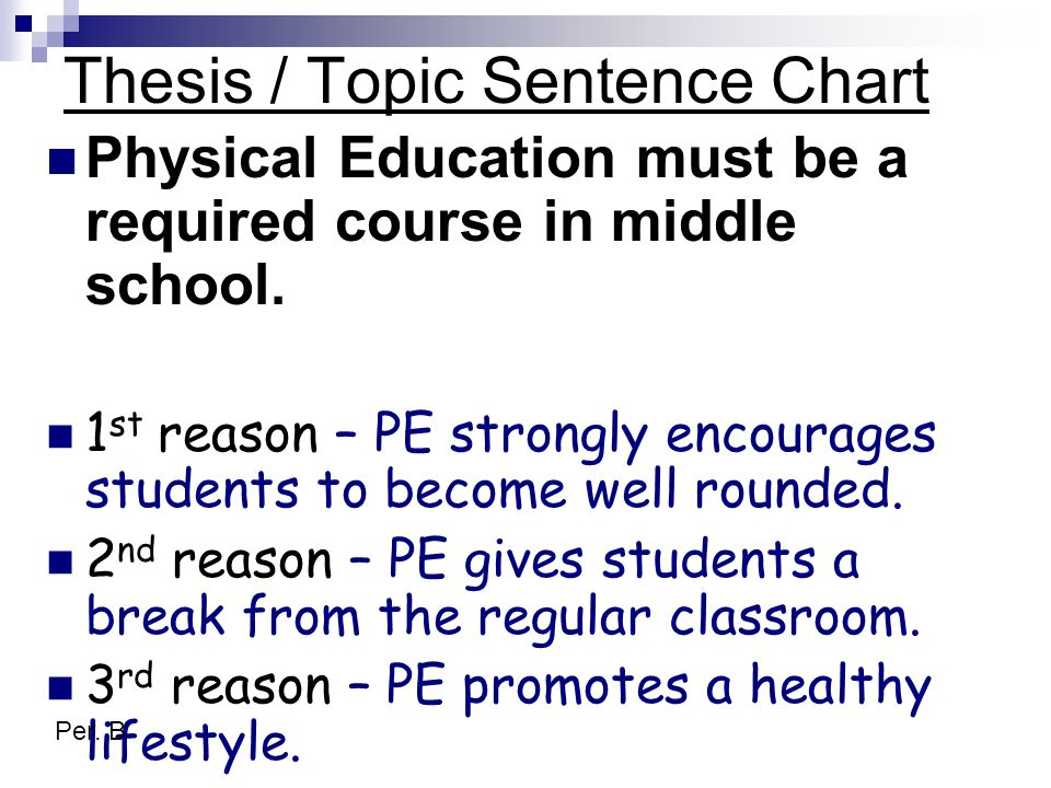 Thesis / Topic Sentence Chart Physical Education must be a required course in middle school.