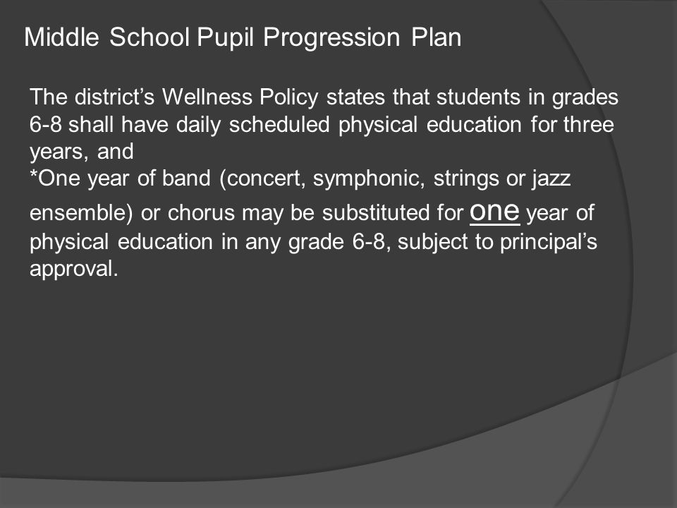 Middle School Pupil Progression Plan The district's Wellness Policy states that students in grades 6-8 shall have daily scheduled physical education for three years, and *One year of band (concert, symphonic, strings or jazz ensemble) or chorus may be substituted for one year of physical education in any grade 6-8, subject to principal's approval.
