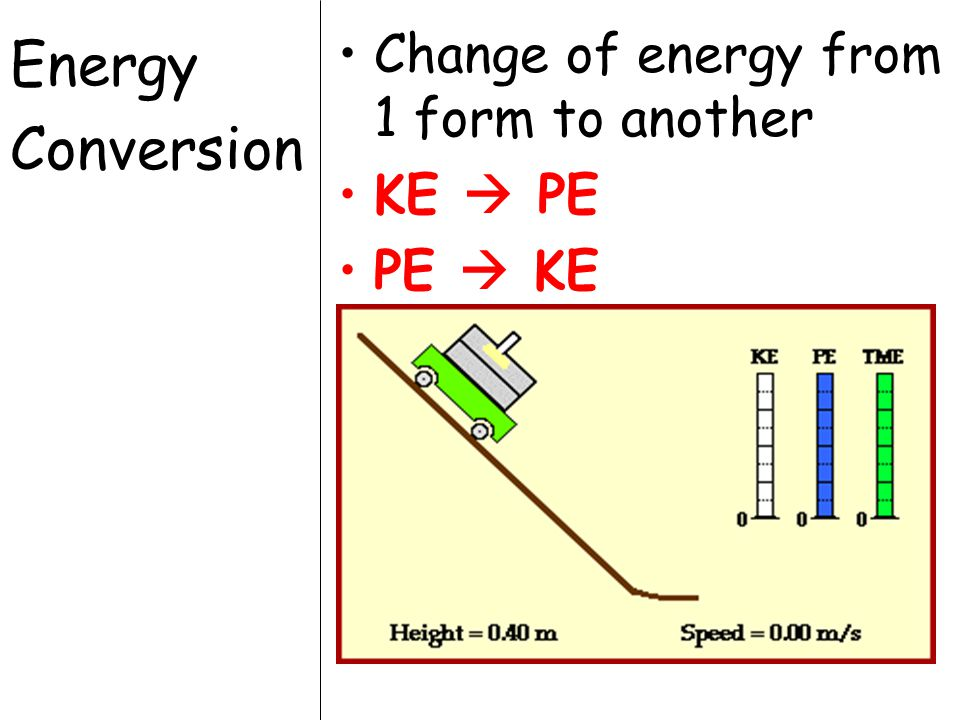 Energy Conversion Change of energy from 1 form to another KE  PE PE  KE