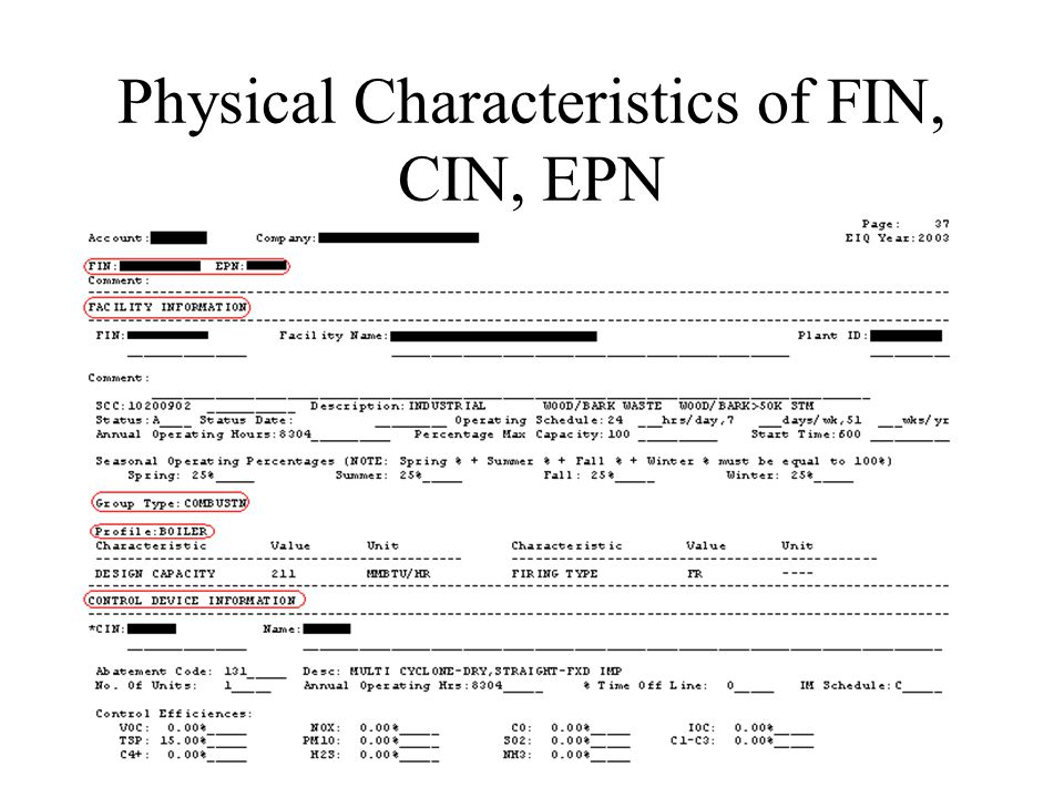 Physical Characteristics of FIN, CIN, EPN