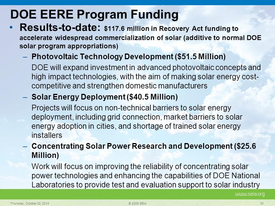 DOE EERE Program Funding Results-to-date: $117.6 million in Recovery Act funding to accelerate widespread commercialization of solar (additive to normal DOE solar program appropriations) –Photovoltaic Technology Development ($51.5 Million) DOE will expand investment in advanced photovoltaic concepts and high impact technologies, with the aim of making solar energy cost- competitive and strengthen domestic manufacturers –Solar Energy Deployment ($40.5 Million) Projects will focus on non-technical barriers to solar energy deployment, including grid connection, market barriers to solar energy adoption in cities, and shortage of trained solar energy installers –Concentrating Solar Power Research and Development ($25.6 Million) Work will focus on improving the reliability of concentrating solar power technologies and enhancing the capabilities of DOE National Laboratories to provide test and evaluation support to solar industry Thursday, October 02, 2014 © 2009 SEIA 30