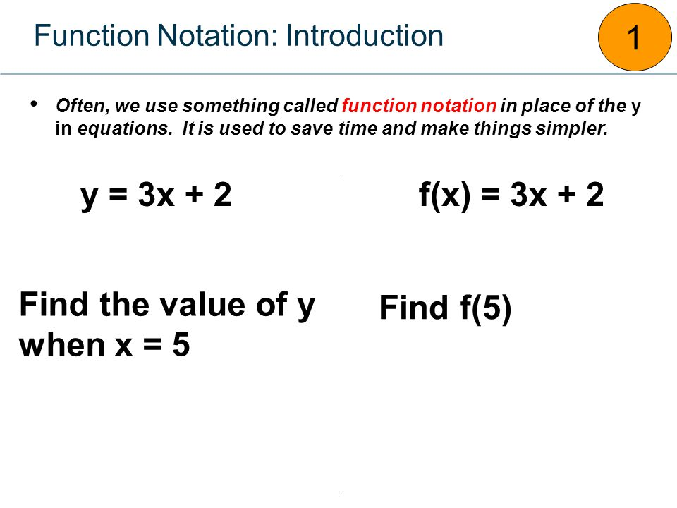Function Notation: Introduction 1 y = 3x + 2 Often, we use something called function notation in place of the y in equations. It is used to save time