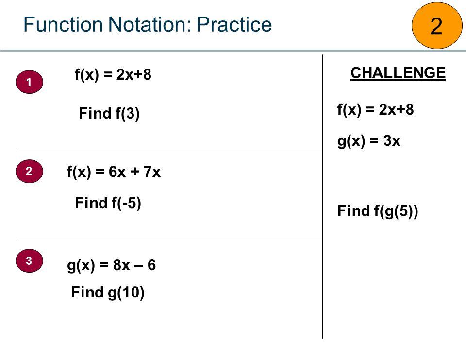 Function Notation: Practice 2 f(x) = 2x+8 g(x) = 8x – 6 f(x) = 6x + 7x Find f(3) Find f(-5) Find g(10) f(x) = 2x+8 g(x) = 3x Find f(g(5)) CHALLENGE 1 2 3