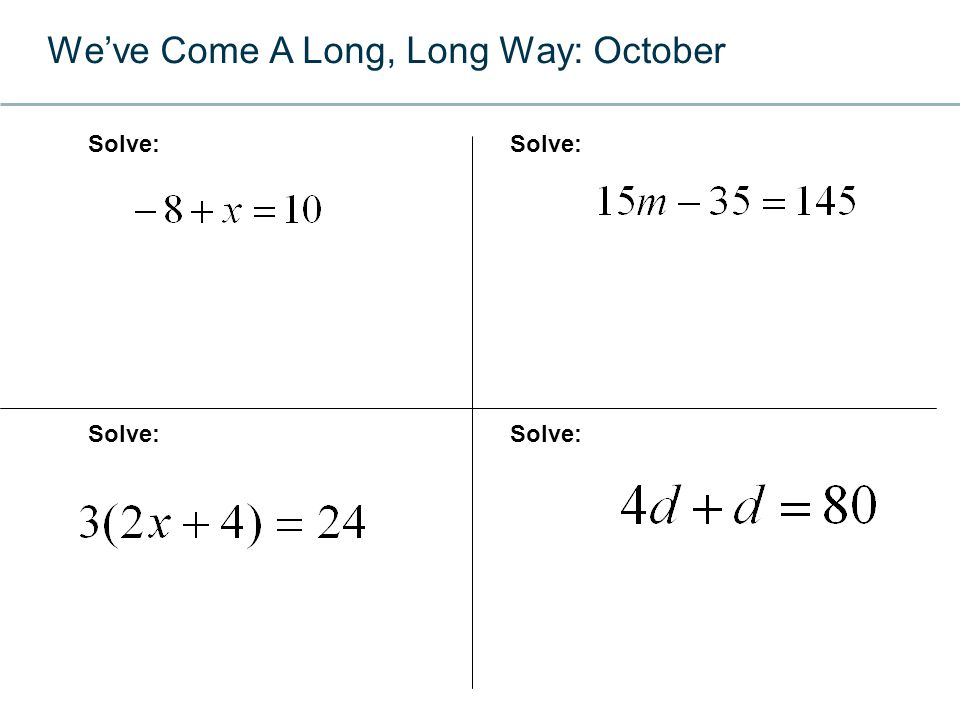 We've Come A Long, Long Way: Now Simplify:Use the Quadratic Formula to Solve: Simplify: http://www.youtube.com/watch?v=wQnGLHOYnck