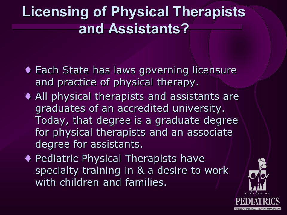 Licensing of Physical Therapists and Assistants.