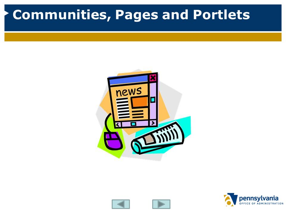 Communities, Pages and Portlets