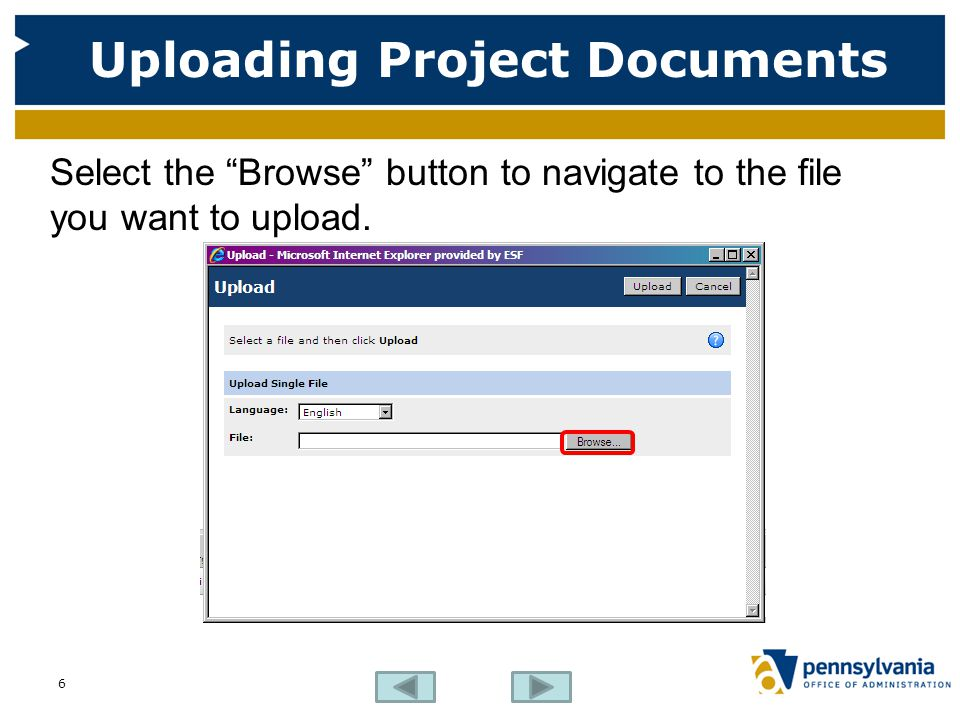 Uploading Project Documents Select the Browse button to navigate to the file you want to upload.