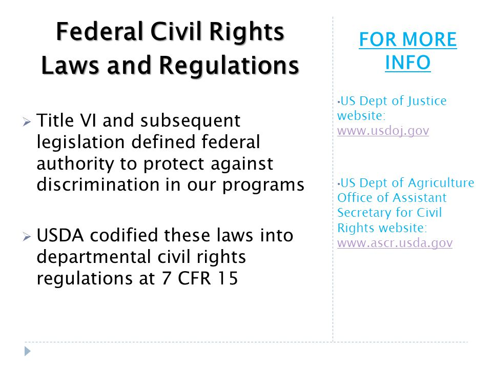 FOR MORE INFO US Dept of Justice website: www.usdoj.gov www.usdoj.gov US Dept of Agriculture Office of Assistant Secretary for Civil Rights website: www.ascr.usda.gov www.ascr.usda.gov Federal Civil Rights Laws and Regulations  Title VI and subsequent legislation defined federal authority to protect against discrimination in our programs  USDA codified these laws into departmental civil rights regulations at 7 CFR 15