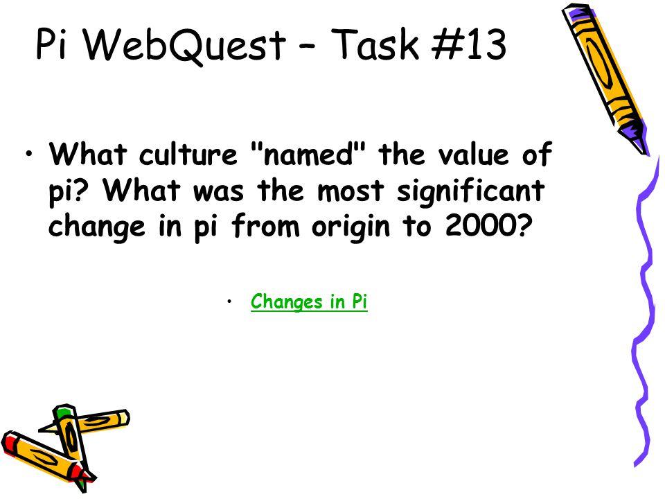 Pi WebQuest – Task #13 What culture