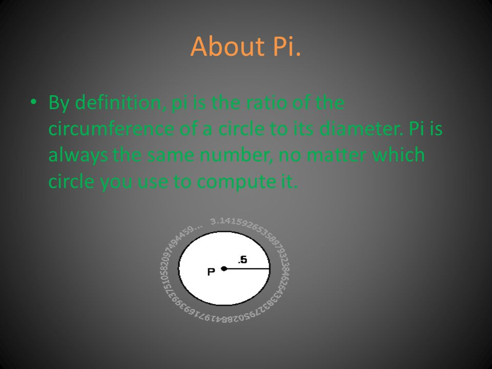 The area of a circle is pi times the square of the length of the radius, or pi r squared