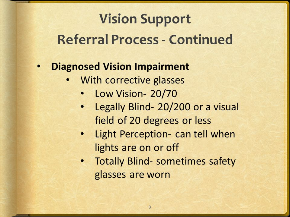 Vision Support Referral Process - Continued Diagnosed Vision Impairment With corrective glasses Low Vision- 20/70 Legally Blind- 20/200 or a visual field of 20 degrees or less Light Perception- can tell when lights are on or off Totally Blind- sometimes safety glasses are worn 3
