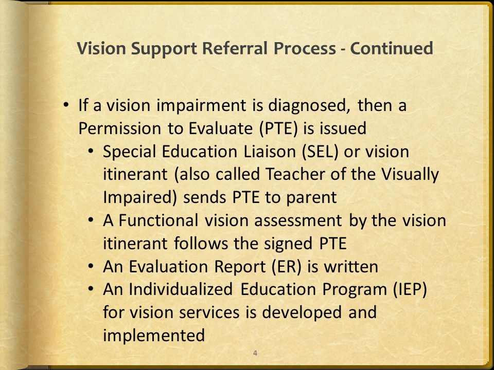 Vision Support Referral Process - Continued If a vision impairment is diagnosed, then a Permission to Evaluate (PTE) is issued Special Education Liaison (SEL) or vision itinerant (also called Teacher of the Visually Impaired) sends PTE to parent A Functional vision assessment by the vision itinerant follows the signed PTE An Evaluation Report (ER) is written An Individualized Education Program (IEP) for vision services is developed and implemented 4