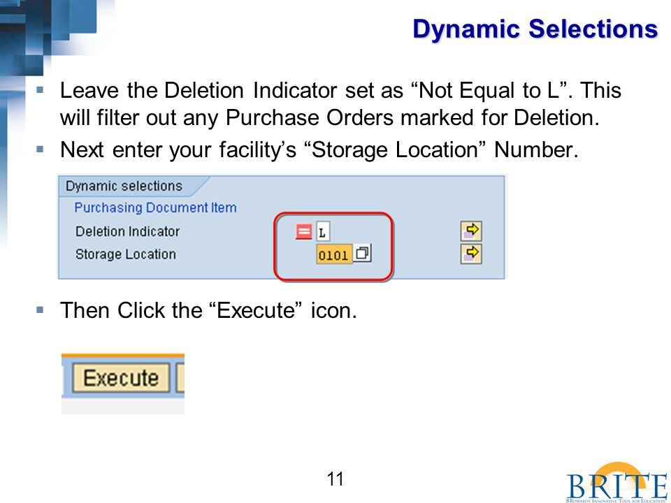 11 Dynamic Selections  Leave the Deletion Indicator set as Not Equal to L .