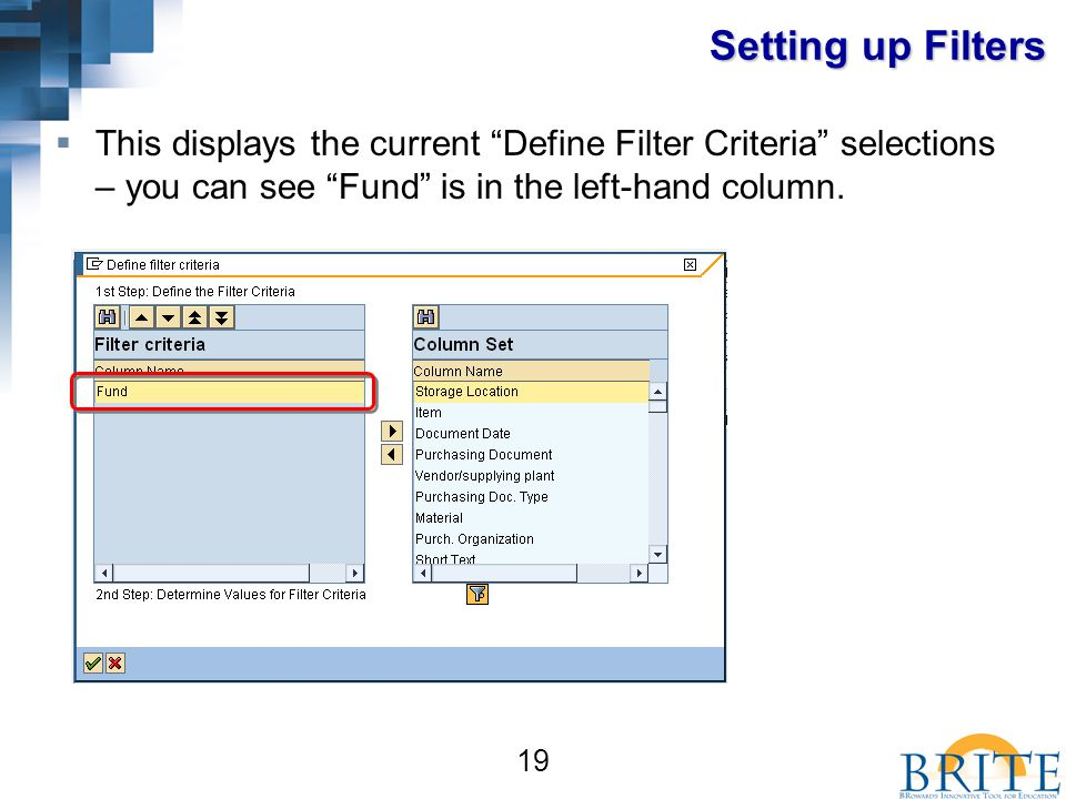 19 Setting up Filters  This displays the current Define Filter Criteria selections – you can see Fund is in the left-hand column.