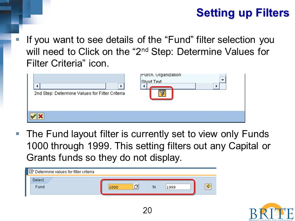 20 Setting up Filters  If you want to see details of the Fund filter selection you will need to Click on the 2 nd Step: Determine Values for Filter Criteria icon.