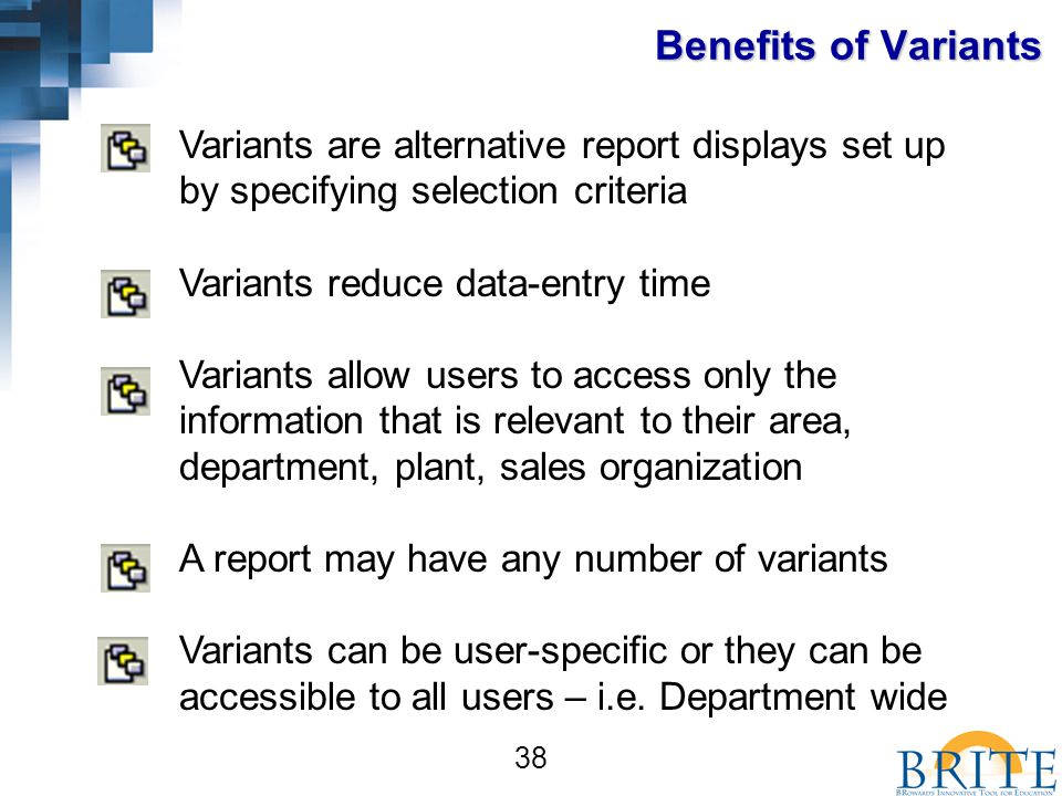 38 Variants are alternative report displays set up by specifying selection criteria Variants reduce data-entry time Variants allow users to access only the information that is relevant to their area, department, plant, sales organization A report may have any number of variants Variants can be user-specific or they can be accessible to all users – i.e.