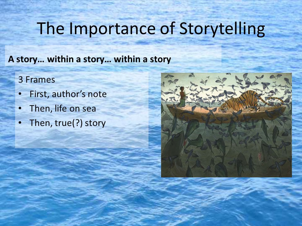 The Importance of Storytelling A story… within a story… within a story 3 Frames First, author's note Then, life on sea Then, true( ) story