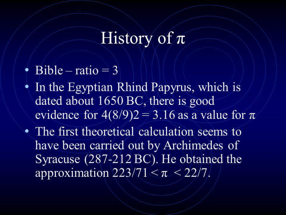 History of π Bible – ratio = 3 In the Egyptian Rhind Papyrus, which is dated about 1650 BC, there is good evidence for 4(8/9)2 = 3.16 as a value for π The first theoretical calculation seems to have been carried out by Archimedes of Syracuse (287-212 BC).
