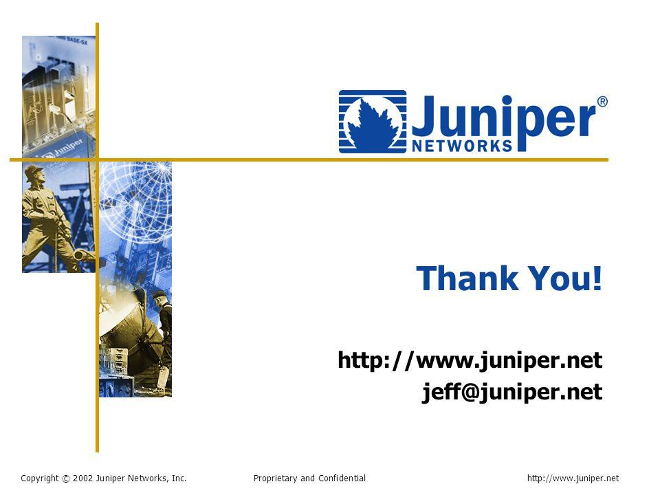Copyright © 2002 Juniper Networks, Inc. Proprietary and Confidentialhttp://www.juniper.net Thank You! http://www.juniper.net jeff@juniper.net