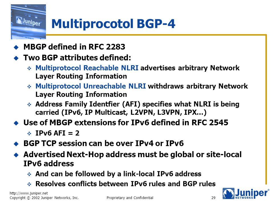 http://www.juniper.net Copyright © 2002 Juniper Networks, Inc. Proprietary and Confidential29 Multiprocotol BGP-4  MBGP defined in RFC 2283  Two BGP