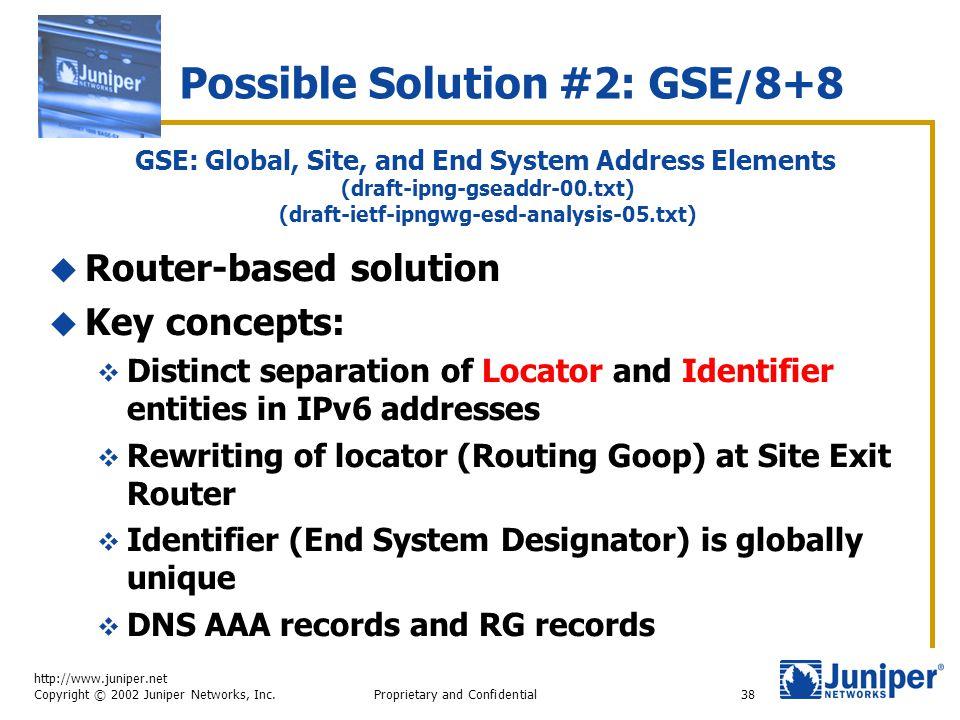 http://www.juniper.net Copyright © 2002 Juniper Networks, Inc. Proprietary and Confidential38  Router-based solution  Key concepts:  Distinct separ