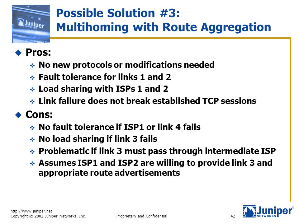 http://www.juniper.net Copyright © 2002 Juniper Networks, Inc. Proprietary and Confidential42 Possible Solution #3: Multihoming with Route Aggregation
