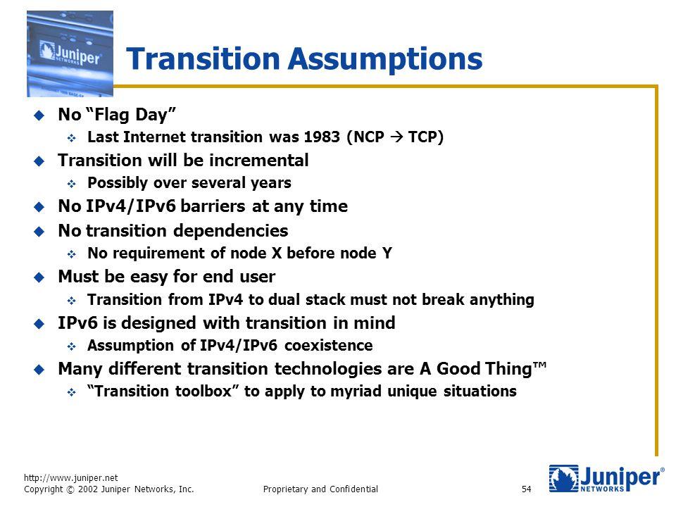 "http://www.juniper.net Copyright © 2002 Juniper Networks, Inc. Proprietary and Confidential54 Transition Assumptions  No ""Flag Day""  Last Internet t"