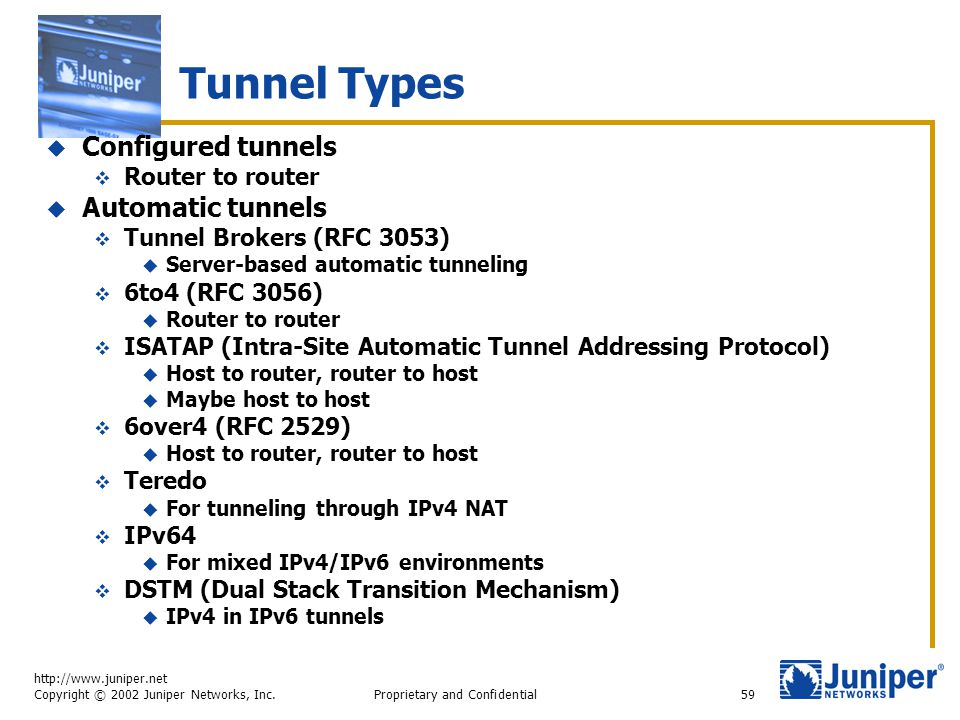http://www.juniper.net Copyright © 2002 Juniper Networks, Inc. Proprietary and Confidential59 Tunnel Types  Configured tunnels  Router to router  A