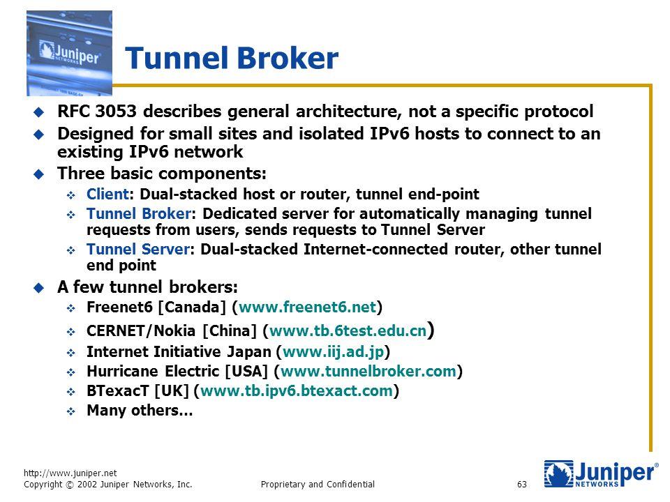 http://www.juniper.net Copyright © 2002 Juniper Networks, Inc. Proprietary and Confidential63 Tunnel Broker  RFC 3053 describes general architecture,