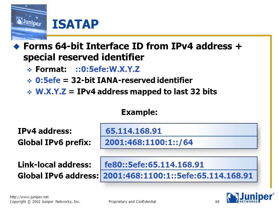 http://www.juniper.net Copyright © 2002 Juniper Networks, Inc. Proprietary and Confidential68 ISATAP  Forms 64-bit Interface ID from IPv4 address + s