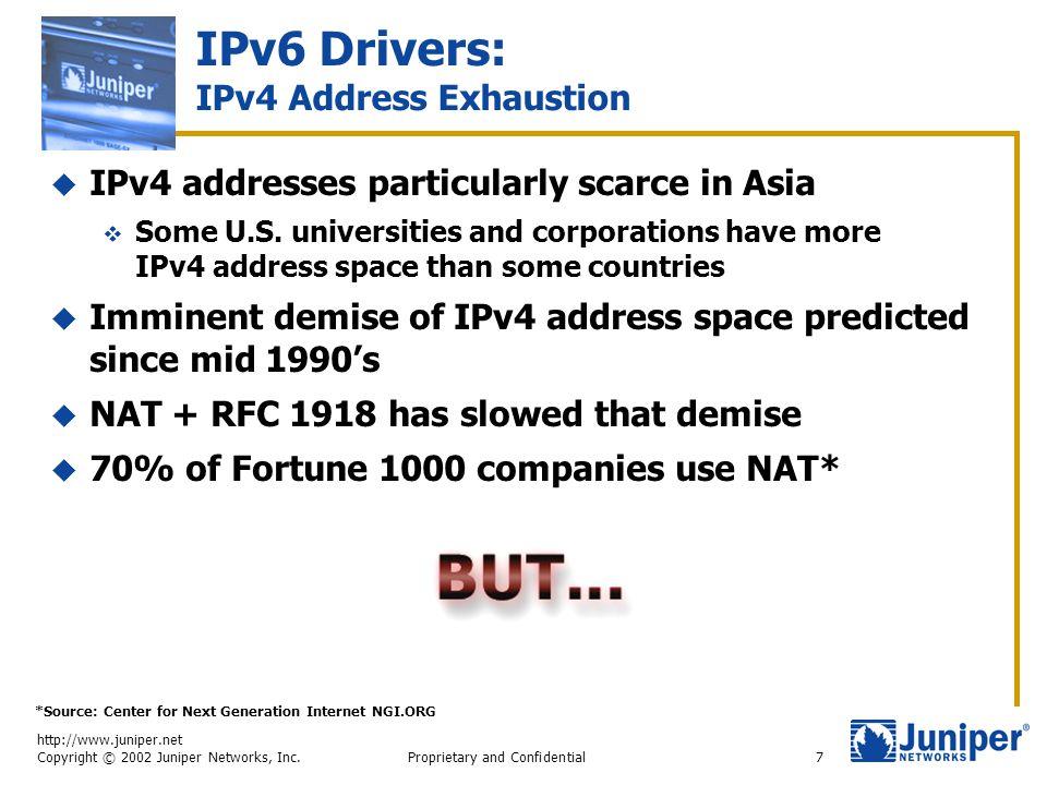 http://www.juniper.net Copyright © 2002 Juniper Networks, Inc. Proprietary and Confidential7 IPv6 Drivers: IPv4 Address Exhaustion  IPv4 addresses pa
