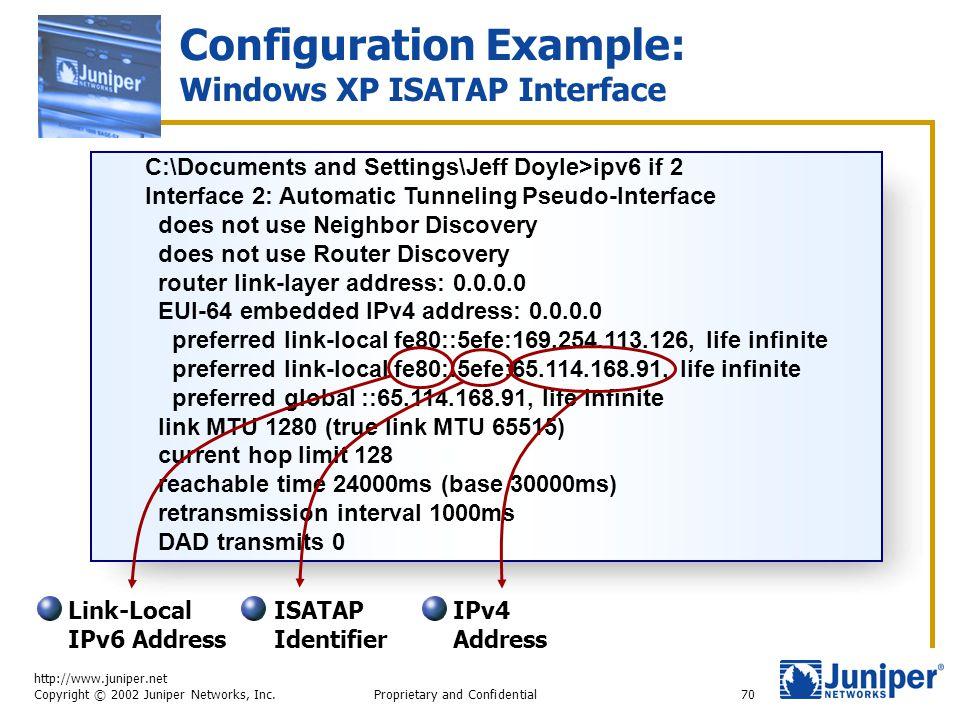 http://www.juniper.net Copyright © 2002 Juniper Networks, Inc. Proprietary and Confidential70 Configuration Example: Windows XP ISATAP Interface C:\Do
