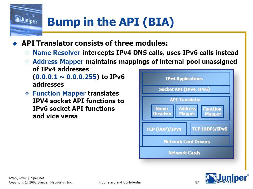 http://www.juniper.net Copyright © 2002 Juniper Networks, Inc. Proprietary and Confidential87 Bump in the API (BIA)  API Translator consists of three