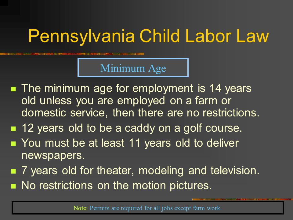 The minimum age for employment is 14 years old unless you are employed on a farm or domestic service, then there are no restrictions.