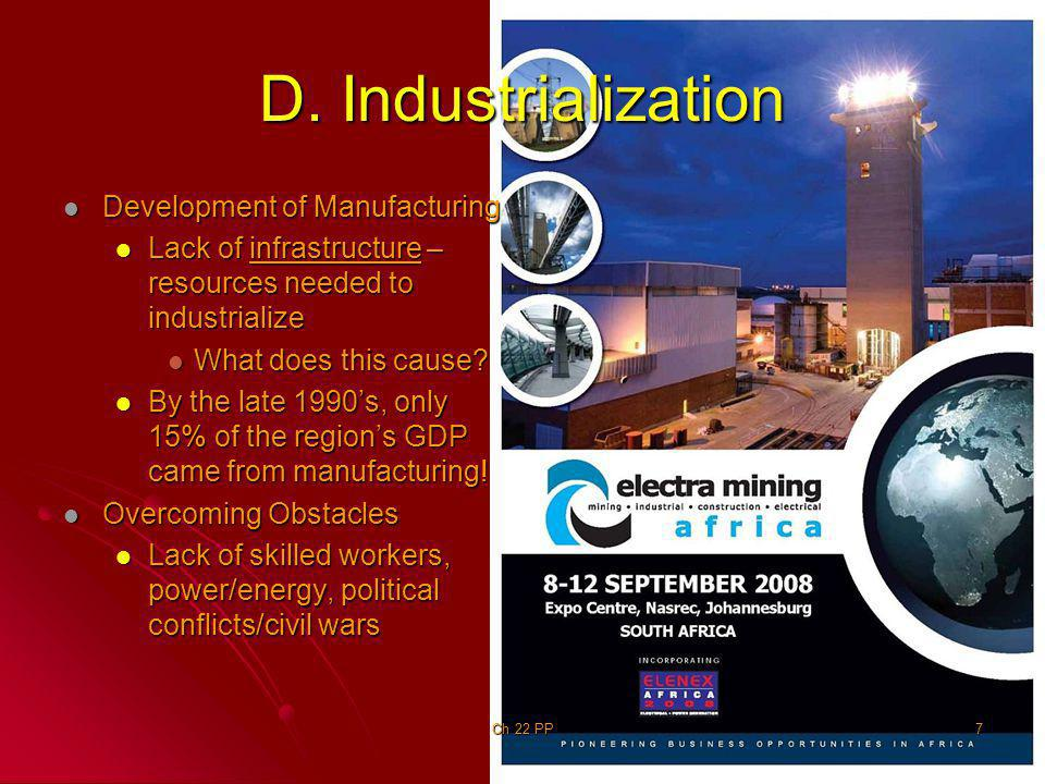 D. Industrialization Development of Manufacturing Development of Manufacturing Lack of infrastructure – resources needed to industrialize Lack of infr