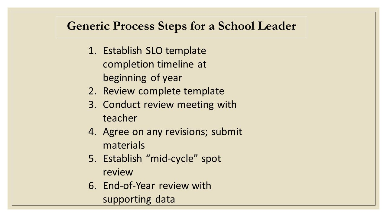 Generic Process Steps for a School Leader 1.Establish SLO template completion timeline at beginning of year 2.Review complete template 3.Conduct review meeting with teacher 4.Agree on any revisions; submit materials 5.Establish mid-cycle spot review 6.End-of-Year review with supporting data