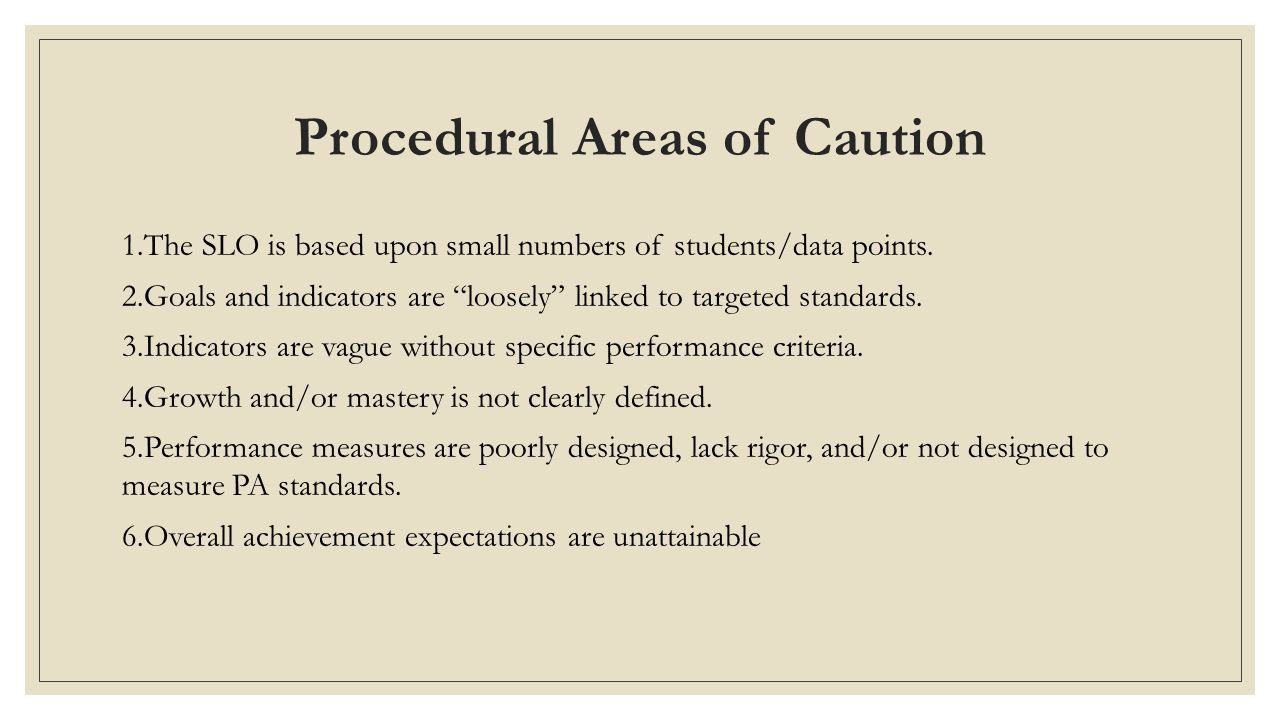 Procedural Areas of Caution 1.The SLO is based upon small numbers of students/data points.
