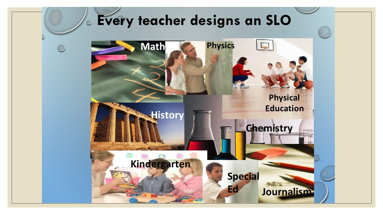 Journalism 14 Every teacher designs an SLO Math Physics History Physical Education Chemistry Kindergarten Special Ed