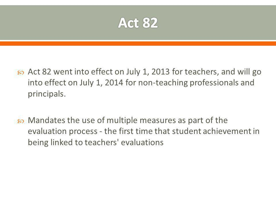 Act 82 went into effect on July 1, 2013 for teachers, and will go into effect on July 1, 2014 for non-teaching professionals and principals.  Manda