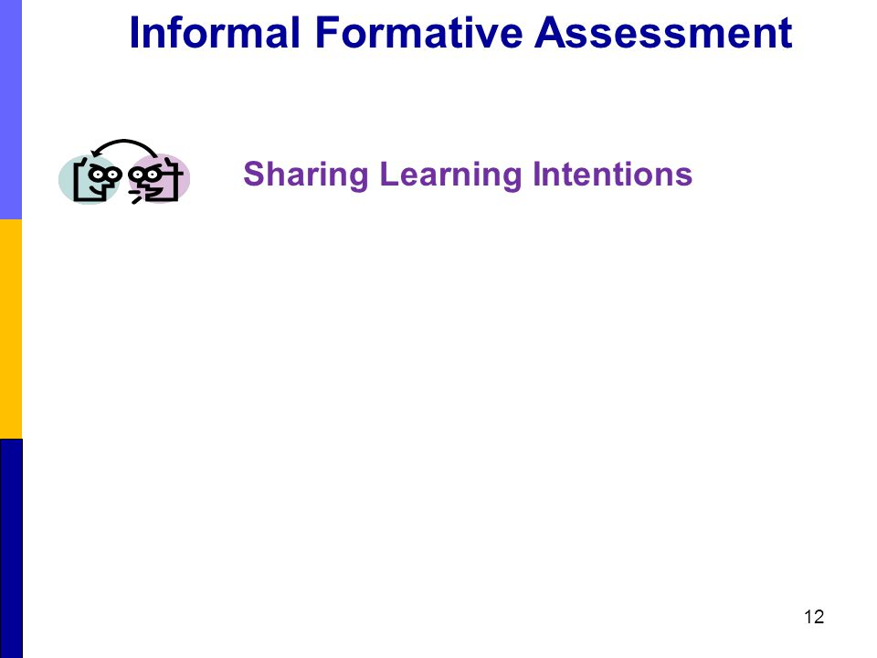 Sharing Learning Intentions 12 Informal Formative Assessment