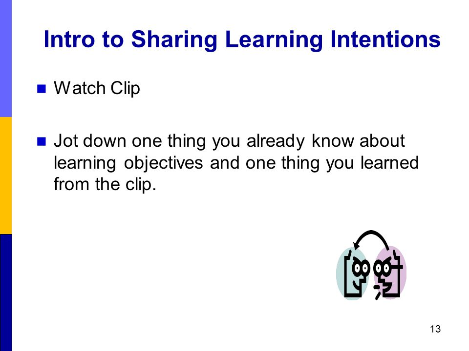 Intro to Sharing Learning Intentions Watch Clip Jot down one thing you already know about learning objectives and one thing you learned from the clip.