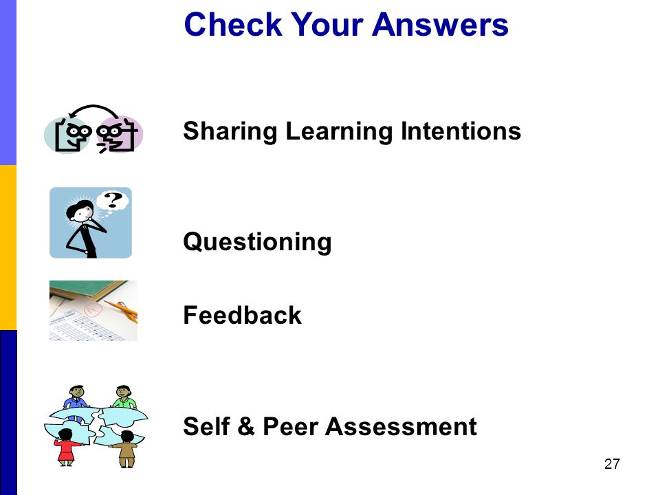 Sharing Learning Intentions Questioning Feedback Self & Peer Assessment 27 Check Your Answers