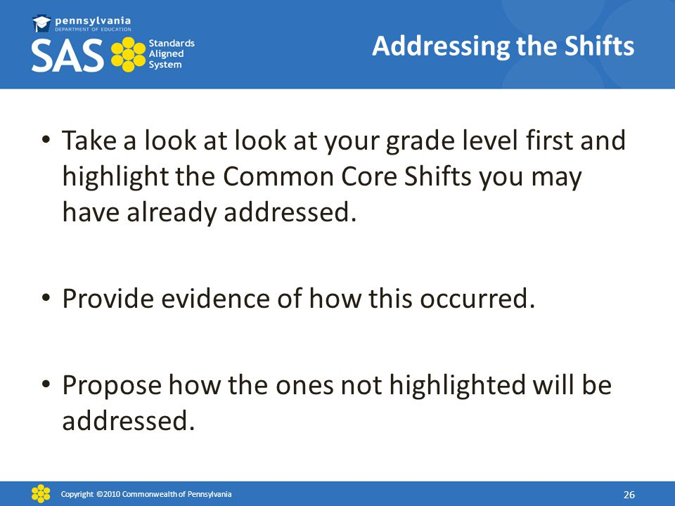 Addressing the Shifts Take a look at look at your grade level first and highlight the Common Core Shifts you may have already addressed. Provide evide