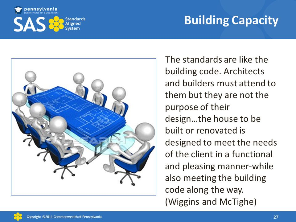 Building Capacity The standards are like the building code. Architects and builders must attend to them but they are not the purpose of their design…t