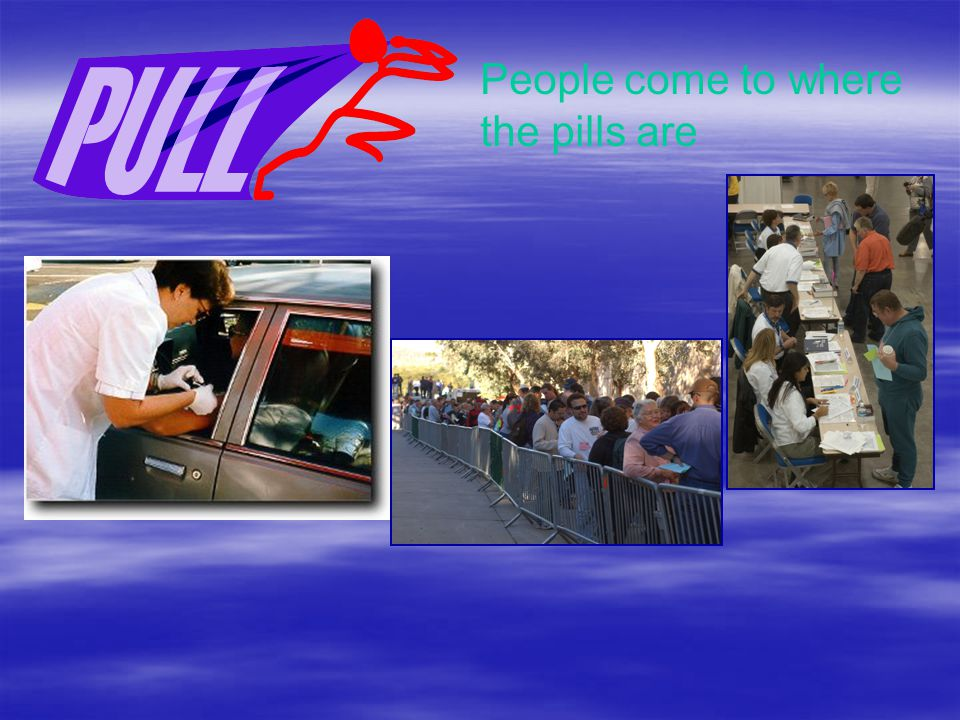 People come to where the pills are